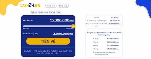 vay tiền qua app cash24