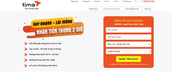 web vay tiền tại Tima